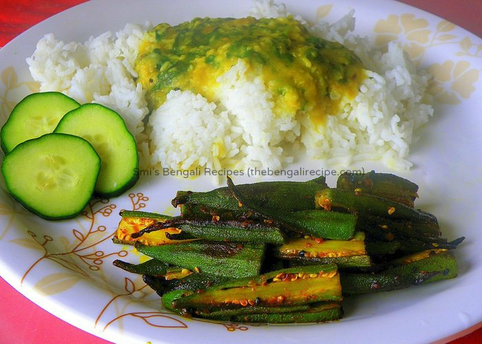 Fried bhindi vegetarian recipes all recipes bengali vegetarian niramish recipe of fried bhindi or dhaarosh bhaja bengali fried okra recipe with forumfinder Images
