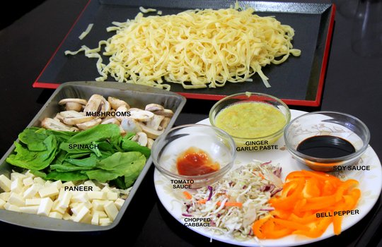 Vegetarian delight noodles rice roti and noodles all recipes authentic indian recipe of chinese vegetarian noodles or vegetable chowmin recipe step by step photos forumfinder Choice Image